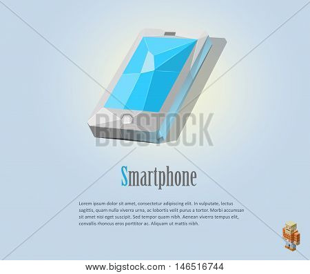PrintVector polygonal illustration of smartphone, modern icons, isolated low poly