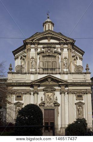 MILAN, ITALY - APRIL 14 2015: Facade of San Giuseppe church in Milan a Baroque-style Roman Catholic church