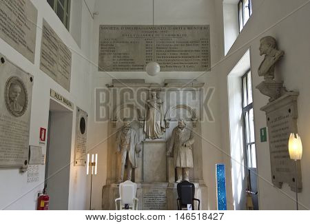 MILAN, ITALY - APRIL 16 2015: Classic sculptures inside the Siam italian academy for arts and education