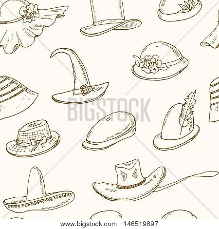 Doodle seamless pattern with different head wears. Hat, cap, headgear Vector illustration