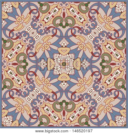 Squared ornamental floral retro pattern. Good design for bandanna, carpet, shawl, pillow or cushion