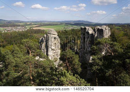 Sandstone Rocks Around Hruba Skala Castle In Bohemian Paradise