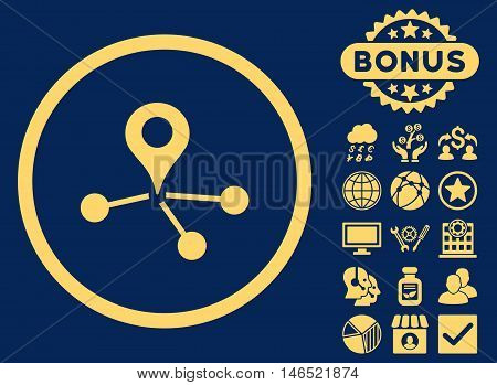 Geo Network icon with bonus. Vector illustration style is flat iconic symbols, yellow color, blue background.