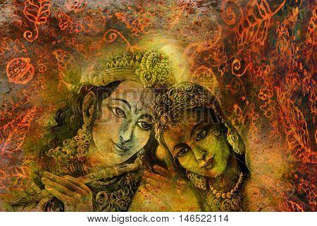 radha and krishna hindu couple on abstract decorative background.