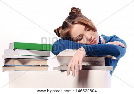 tired student fell asleep on textbooks isolated