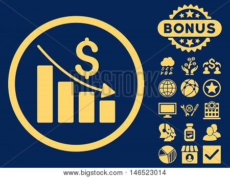 Recession Chart icon with bonus. Vector illustration style is flat iconic symbols, yellow color, blue background.