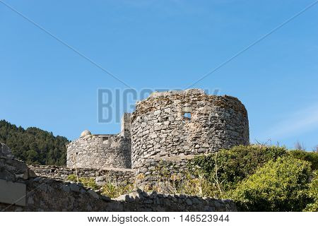Ancient ruins of two windmills and watchtowers in the Portovenere city (UNESCO world heritage site) Liguria Italy