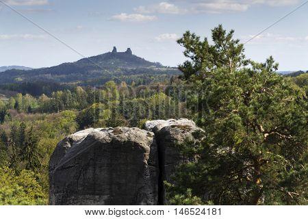 Sandstone Rocks Around Hruba Skala Castle With Trosky Ruins