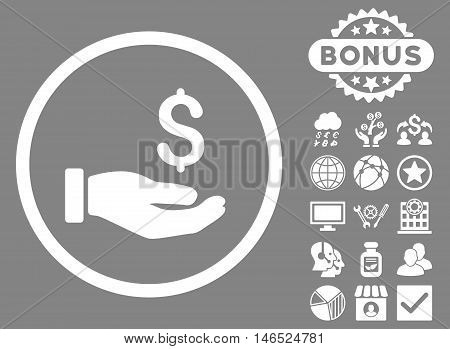 Earnings Hand icon with bonus. Vector illustration style is flat iconic symbols, white color, gray background.