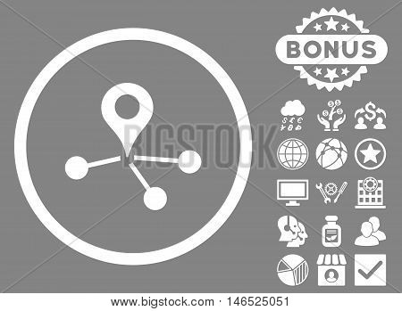 Geo Network icon with bonus. Vector illustration style is flat iconic symbols, white color, gray background.