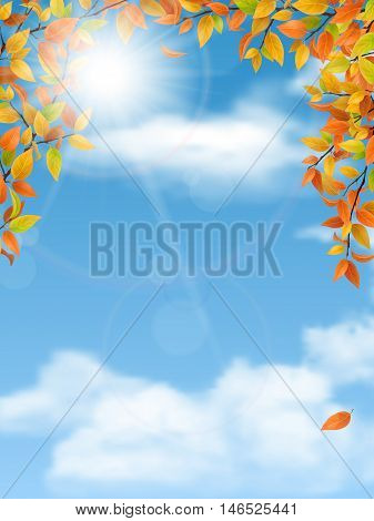 Autumn trees branches with red leaves on blue sky background. Vector seasonal background.