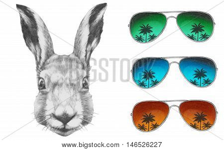 Original drawing of Rabbit with mirror sunglasses. Isolated on white background