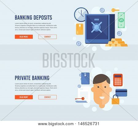 Private banking. Banking deposits. Bank deposited the money, finances, transfers, currency, deposits. Modern flat design concept for web banners, web sites, printed materials, infographics.