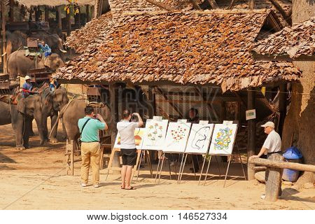 Chian Mai Thailand - March 07 2011 - Tourists taking a look at pictures drawn by elephants