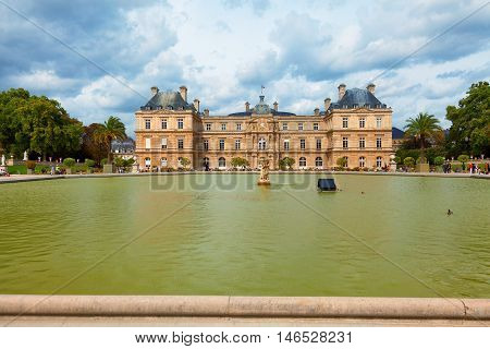 Paris France - September 06 2011 - Luxemburg Gardens (Jardin du Luxembourg) and the Luxembourg Palace in a cloudy September day