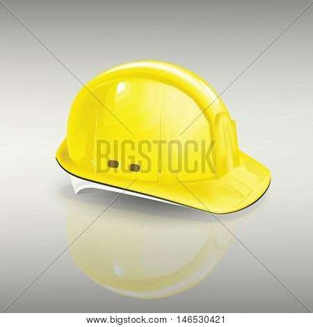 construction helmet protection vector yellow head contractor, work