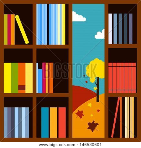 Autumn landscape visible through the bookcase with many books