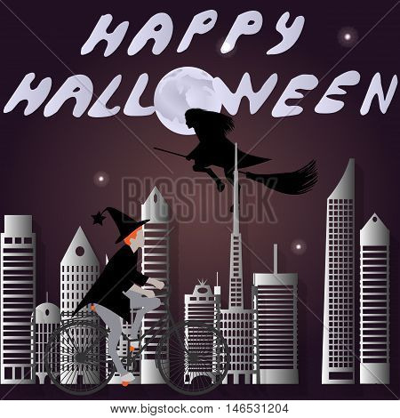 Vector illustration of a witch on a bicycle and a witch on a broomstick go on holiday Halloween city at night
