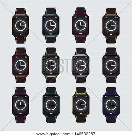 Set of smart watch vector icons. Smart watch vector logo. Isolated smart watch sign. Smart watch vector eps10 flat. Smart watches with different color facing.