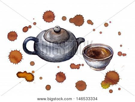Painted traditional asian tea set with tea pot and cup in brown tea drops