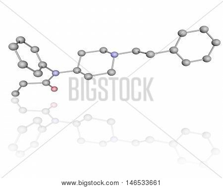 3D molecule of fentanyl over white with reflection, isolated.