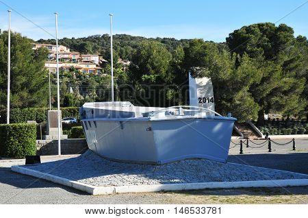Saint Raphael; France - april 15 2016 : a landing barge of the second world war