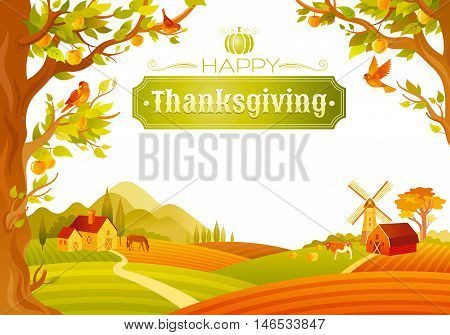Vector illustration of beautiful autumn landscape on white background in modern style with elegant text lettering Happy Thanksgiving, copy space. Countryside fall farm symbols - barn, mill