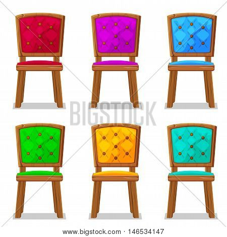 cartoon colorful wooden chair in vector object