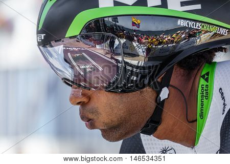 JAVEA - SEPTEMBER 9: Kudus Merhawi prepares for the start of the decisive time trial stage of La Vuelta on September 9, 2016 in Alicante, Spain