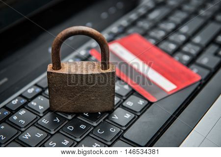 Concept photo of security internet payment with credit card