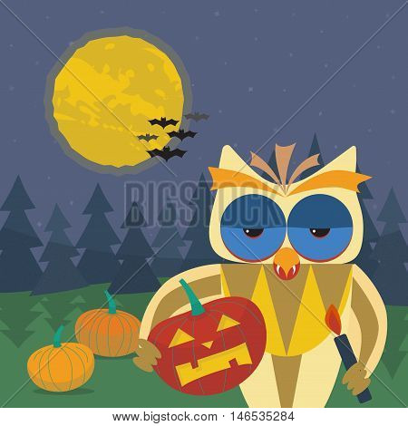 Halloween illustration with smiling owl with a pumpkin in his paws. Owl's beak with vampire fangs. Dark forest, pumpkins, bats and the moon on a background of the starry sky