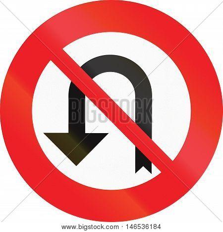 Belgian Regulatory Road Sign - No U-turns