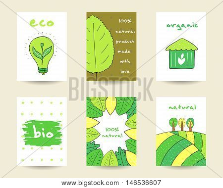 Cute hand drawn doodle eco bio nature cards brochures invitations leaf plant banner trees hills bulb house abstract elements Cartoon objects background Printable templates tags set