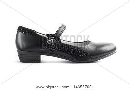 Black shoe for girl on white background