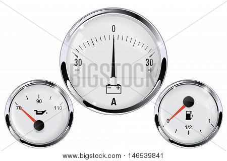 Car dashboard - ammeter fuel gauge oil pressure gauge. With chrome frame. Vector isolated on white background.