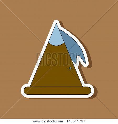 paper sticker on stylish background of snow avalanche
