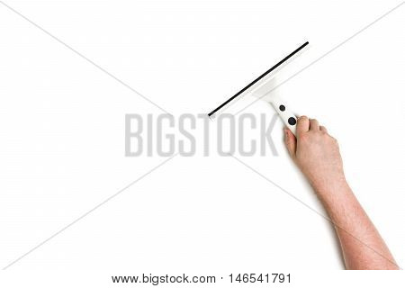 Man's or woman's hand cleaning with a squeegee on white background.