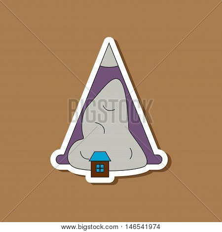 paper sticker on stylish background of snow avalanche house