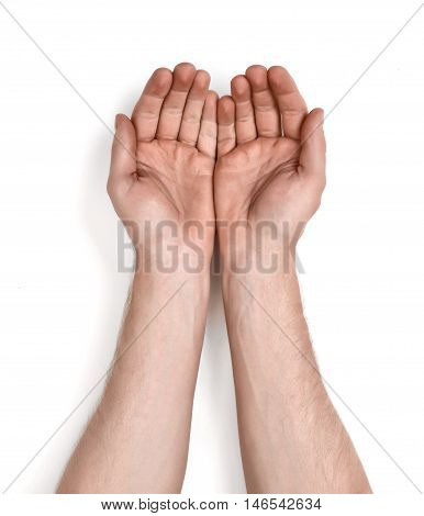 Grasping hands of a man, isolated on white background. Holding gesture. Body language. Grasping and grabbing.