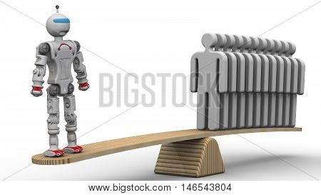 Comparison of the efficiency of the robot and the person. One robot weighed on the scales with a group of gray human symbols. The concept of comparing the the robot and the person. One cyborg replaces several people. Isolated. 3D Illustration