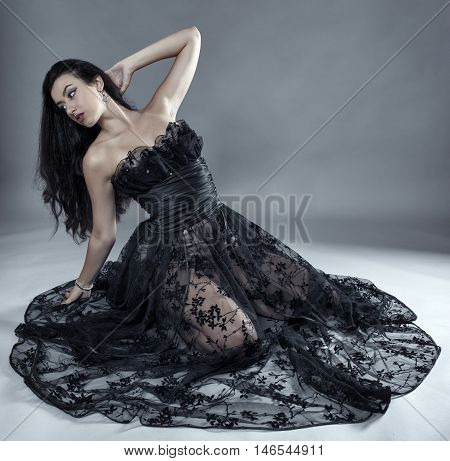 Glamour Model In Black Lace Dress