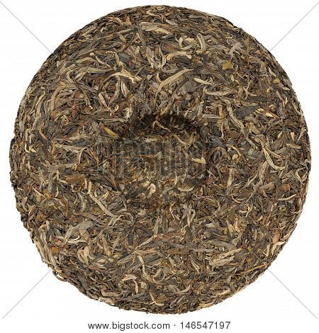 Yunnan rawsheng puerh tea with stone impress overhead view isolated