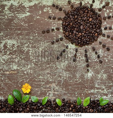 Sun shape roasted coffee beans on wooden background