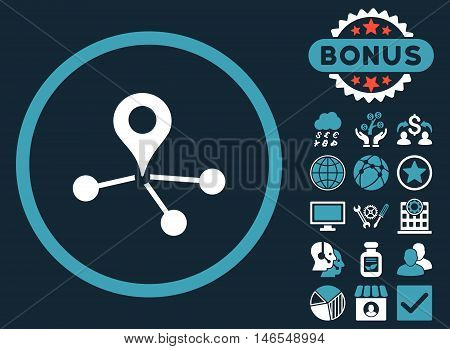 Geo Network icon with bonus. Vector illustration style is flat iconic bicolor symbols, blue and white colors, dark blue background.