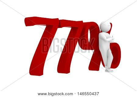 3D Human Leans Against A Red 77%