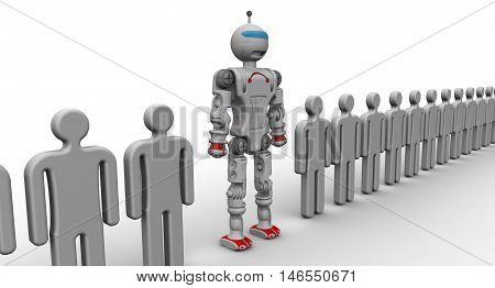 Robot among people. Humanoid robot among a large number of symbolic people. 3D Illustration