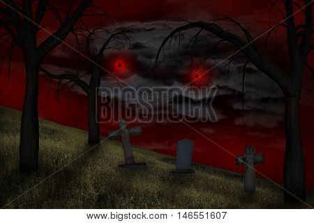 Graveyard headstones in a graveyard under a spooky red sky