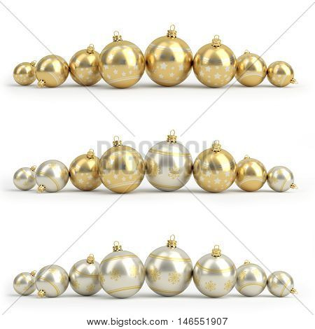 Collection of golden and silver christmas balls. White isolated - 3D render