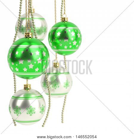 glossy green christmas bulbs isolated on white background - 3D render