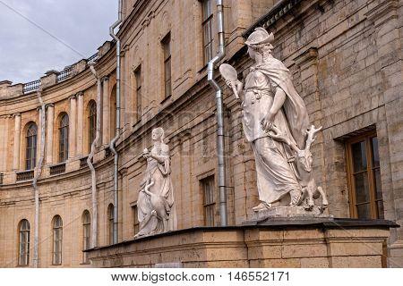 Gatchina Palace. Sculptures at the main entrance. Allegory - prudence. Allegory - vigilance. The sculptor Johann Morleyter.